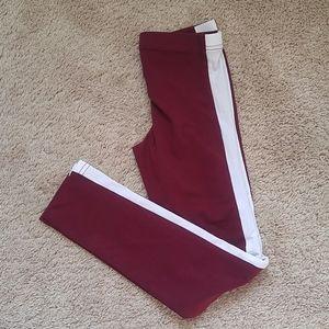 NWT Old Navy girls leggings side stripe burgundy